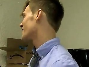 Hot gay sex Joey Perelli is left in charge of the office and his