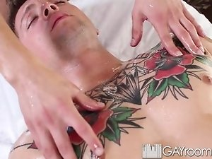 HD - GayRoom Oiled up massage turns into fuck